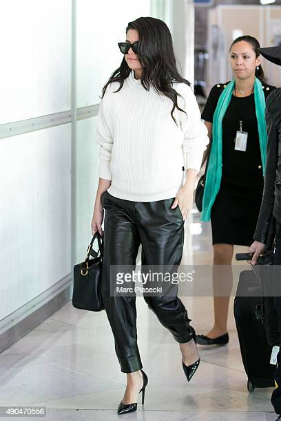Actress and singer Selena Gomez is spotted at CharlesdeGaulle airport on September 29 2015 in Paris France