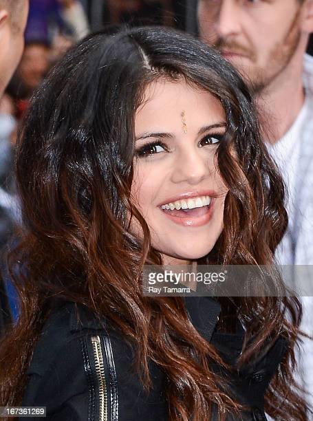 Actress and singer Selena Gomez leaves the Late Show With David Letterman taping at the Ed Sullivan Theater on April 24 2013 in New York City