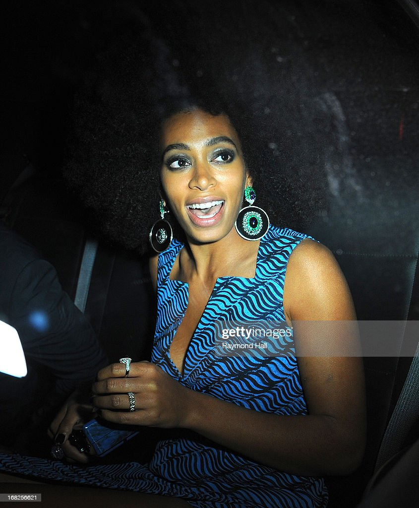 Actress and singer Solange Knowles leaves the 'PUNK: Chaos To Couture' Costume Institute Gala after party at the Standard Hotel on May 6, 2013 in New York City.
