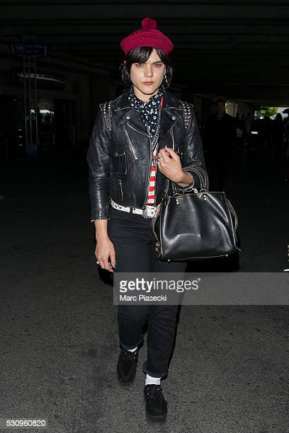 Actress and singer Stephanie Sokolinski aka SoKo arrives at Nice airport during the annual 69th Cannes Film Festival at Nice Airport on May 12 2016...