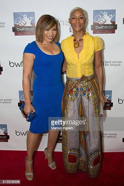 Actress and singer Tisha CampbellMartin and actress Charmin Lee attend the Black Women Film Network A Conversation with Tisha CampbellMartin at...