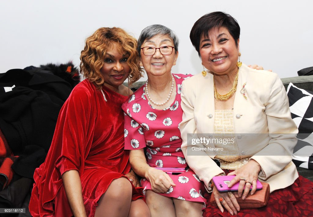 Actress and singer Vivian Reed, Linda Cheng and guest attend the 2018 Red & Gold Party at Calligaris SoHo on February 13, 2018 in New York City.