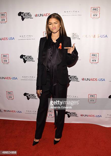 Actress and singer Zendaya arrives at the Inaugural World AIDS Day Benefit at Sofitel Hotel on December 1 2015 in Los Angeles California