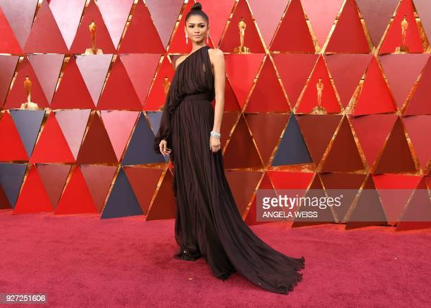 US actress and singer Zendaya arrives for the 90th Annual Academy Awards on March 4 in Hollywood California / AFP PHOTO / ANGELA WEISS