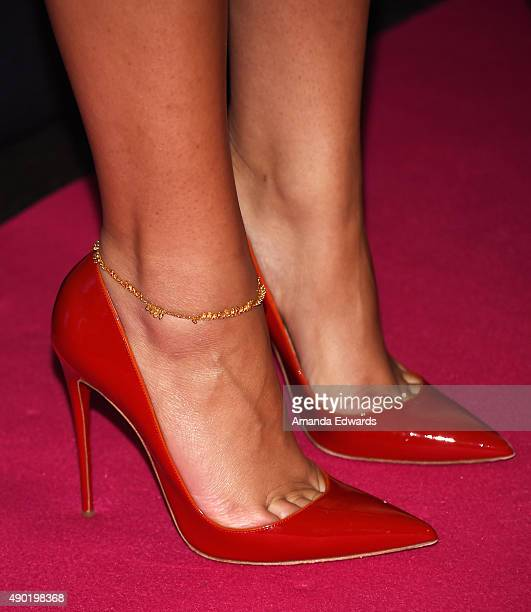 Actress and singer Zendaya shoe and anklet detail attends the Barbie Rock 'N Royals Concert Experience at the Hollywood Palladium on September 26...