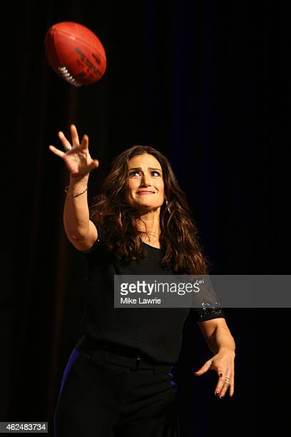 Actress and singersongwriter Idina Menzel speaks during the Super Bowl XLIX Pregame Show Press Conference on January 29 2015 in Phoenix Arizona