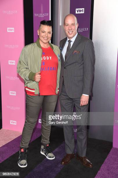 Actress and singer/songwriter Sara Ramirez and honoree Anthony Romero attend the 2018 VH 1 Trailblazer Honors at Cathedral of St John the Divine on...