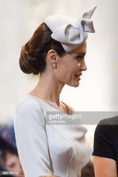 US actress and Special Envoy for the United Nations High Commissioner for Refugees Angelina Jolie arrives ahead of the Service of Commemoration and...