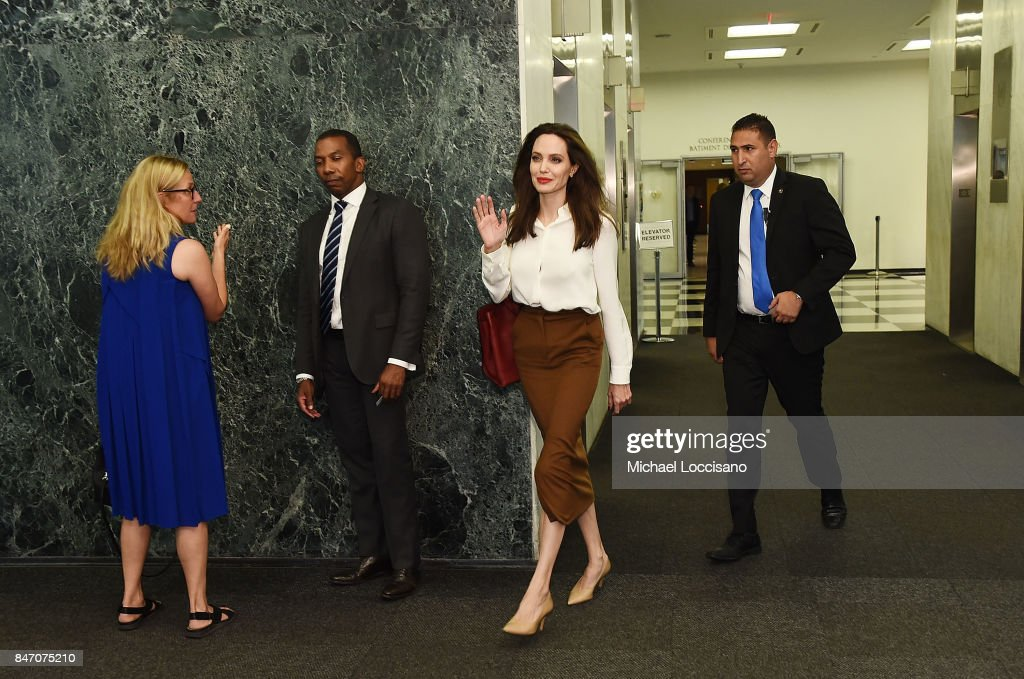 Actress and Special Envoy to the United Nations High Commissioner for Refugees Angelina Jolie visits The United Nations on September 14, 2017 in New York City.