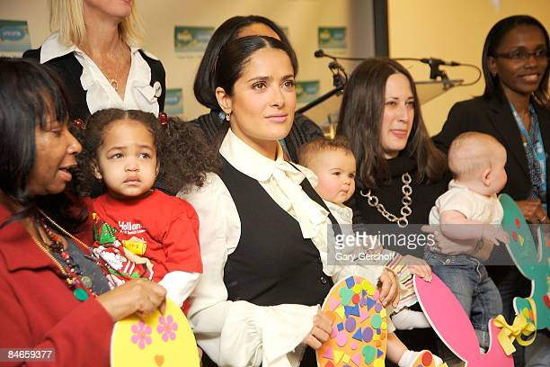 Actress and spokesperson Salma Hayek attends the second year launch of the One Pack = One Vaccine campaign at the United States Fund for UNICEF on...