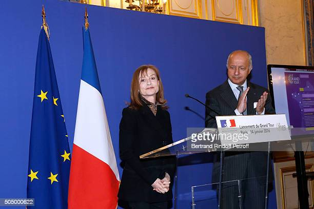 Actress and Sponsor of 'Le Grand Tour' Isabelle Huppert and French Minister of Foreign Affairs Laurent Fabius launch 'Le Grand Tour' at Quai d'Orsay...