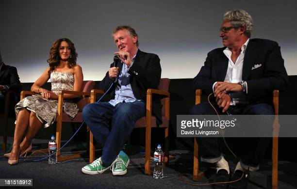 Actress and star of the film Jennifer Beals film's director Adrian Lyne and actor Michael Nouri attend a QA following a Flashdance 30th anniversary...