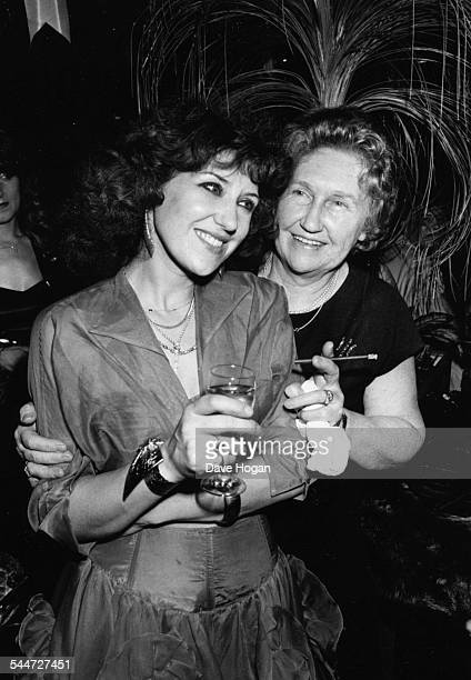 Actress and star of the soap opera 'Eastenders' Anita Dobson with her mother at a party circa 1988