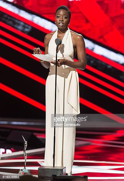 Actress and Star Power Award recipient Danai Gurira speaks onstage during BET Black Girls Rock 2016 at New Jersey Performing Arts Center on April 1...