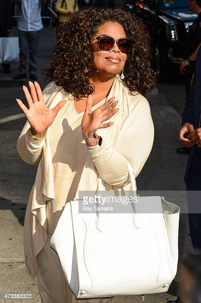 "Actress and television personality Oprah Winfrey enters the ""Late Show With David Letterman"" taping at the Ed Sullivan Theater on May 14, 2015 in New..."
