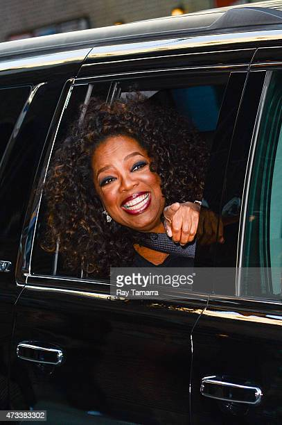 Actress and television personality Oprah Winfrey leaves the Late Show With David Letterman taping at the Ed Sullivan Theater on May 14 2015 in New...