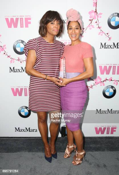 Actress and The Lucy Award for Excellence in Television Honoree Tracee Ellis Ross and actress Aisha Tyler attend the Women In Film 2017 Crystal Lucy...