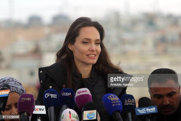 US actress and the UN refugee agency UNHCR Special Envoy Angelina Jolie holds a press conference after her visit to Zaatari refugee camp in Mafraq...