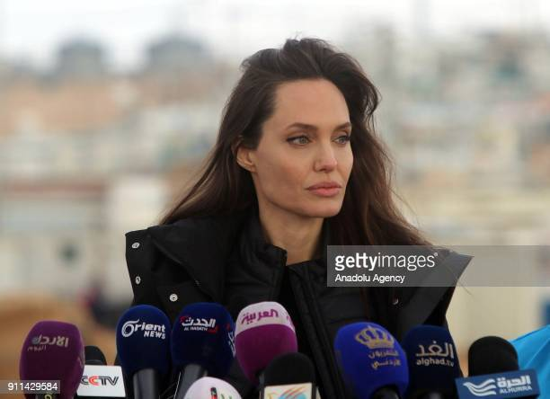 Actress and the UN refugee agency UNHCR Special Envoy Angelina Jolie holds a press conference after her visit to Zaatari refugee camp in Mafraq,...
