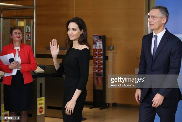 US actress and the UN refugee agency UNHCR Special Envoy Angelina Jolie and NATO Secretary General Jens Stoltenberg hold a joint press conference...