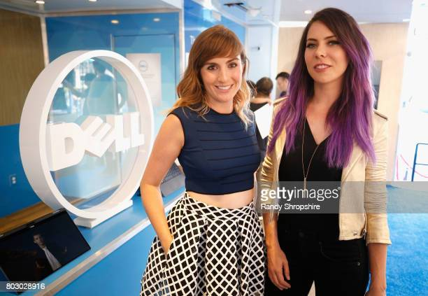 Actress and TV correspondent Alison haislip and actress/on air host Michele Morrow at the Dell VR Experience at the 'SpiderMan Homecoming' World...