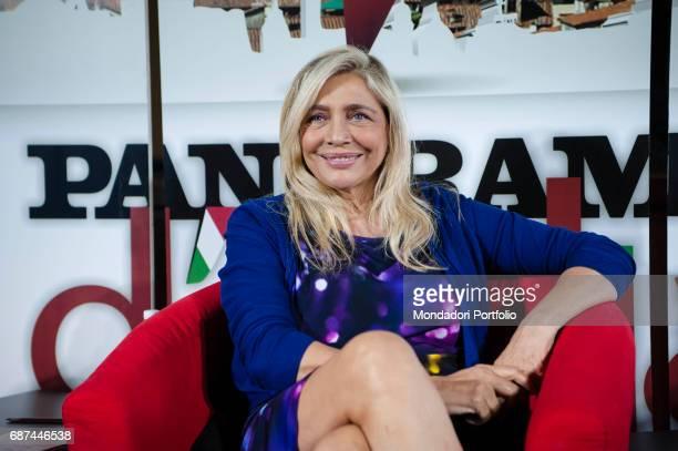 Actress and TV host Mara Venier talking to Alfonso Signorini director of Chi and Giorgio MulŠ director of Panorama during the event Panorama d'Italia...