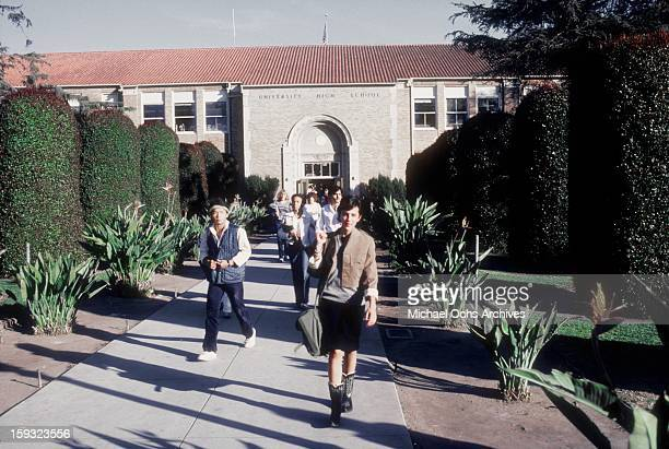 Actress and TV personality Allegra Curtis leaves University High School in January 1982 in Los Angeles California