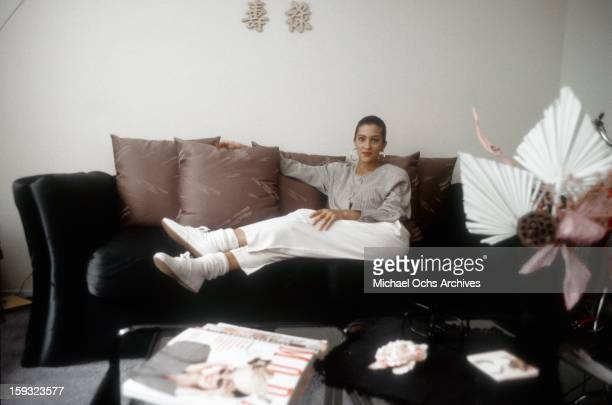 Actress and TV personality Allegra Curtis poses for a portrait at home in 1988 in Los Angeles California