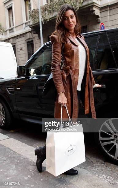 Actress and TV Personality Belen Rodriguez carries a paper bag in Via della Spiga on January 20 2011 in Milan Italy Italian consumers currently use...