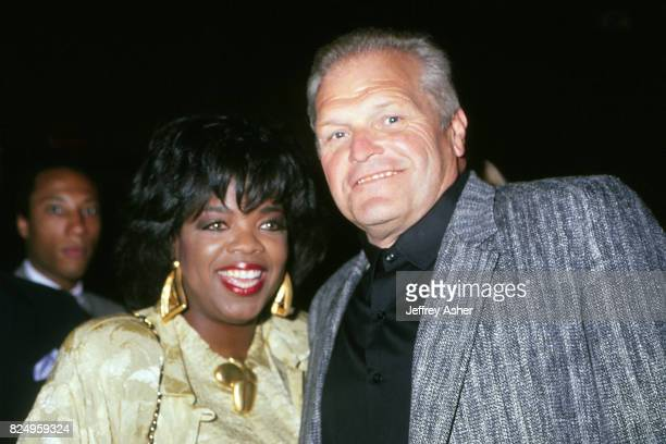 Actress and TV Personality Oprah Winfrey with Actor Brian Dennehy at Tyson vs Spinks Convention Hall in Atlantic City New Jersey June 27 1988