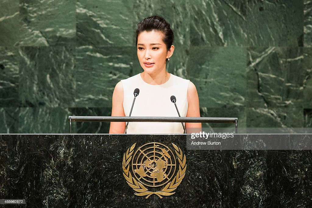Actress and UN Environment Programme Goodwill Ambassador Li Bingbing speaks at the United Nations Climate Summit on September 23, 2014 in New York City. The summit, which is meeting one day before the UN General Assembly begins, is bringing together world leaders, scientists and activists looking to curb climate change.