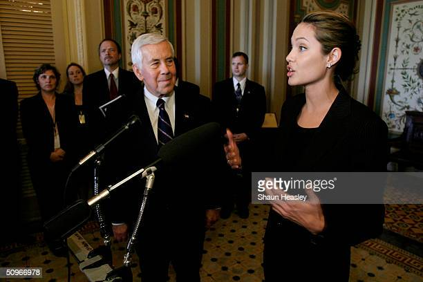 Actress and UN goodwill ambassador Angelina Jolie speaks during a press conference with Sen Richard Lugar Chairman of the Senate Foreign Relations...
