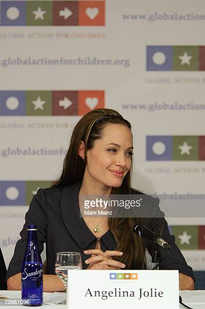 Actress and UN Goodwill Ambassador for High Commissioner for Refugees Angelina Jolie attends the launch of Global Action for Children April 26 2007...