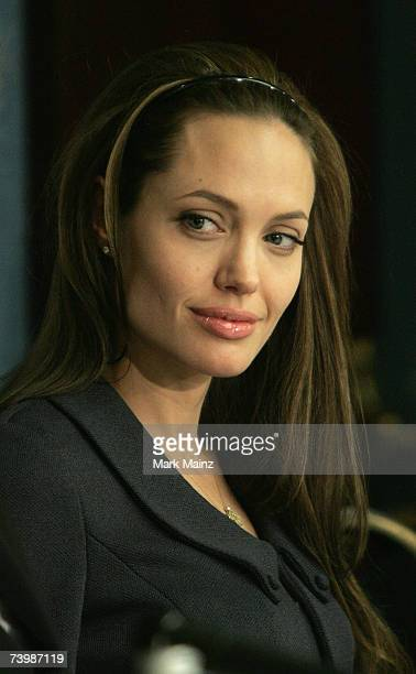 Actress and UN Goodwill Ambassador for High Commissioner for Refugees Angelina Jolie attends the launch of 'Global Action for Children' April 26 2007...