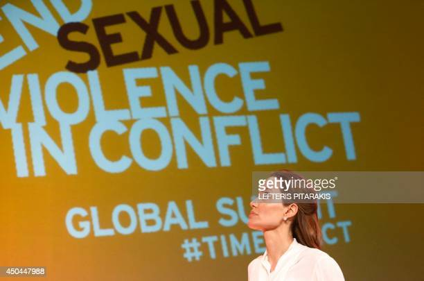 US actress and UN special envoy Angelina Jolie arrives for the presentation of the International Protocol on the Documentation of Sexual Violence in...