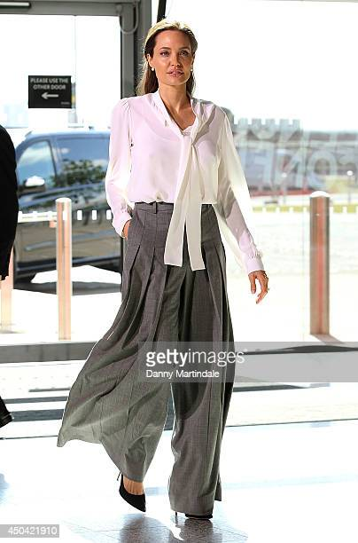Actress and UN special envoy Angelina Jolie attends the second day of the Global Summit to End Sexual Violence in Conflict on June 11, 2014 in...