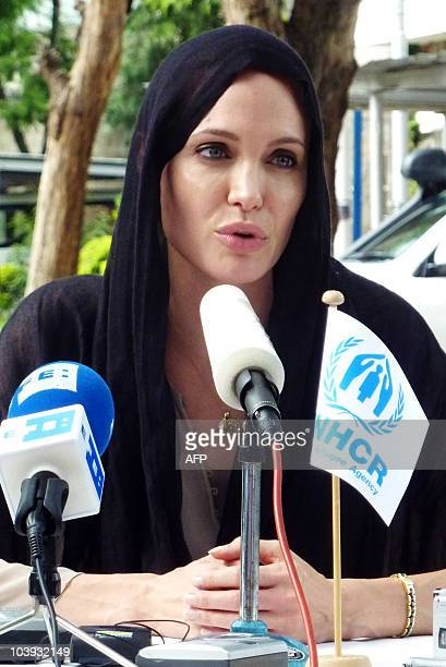 US actress and UNHCR Goodwill Ambassador Angelina Jolie gives a press conference in Islamabad on September 8 2010 Jolie Tuesday visited Pakistan's...