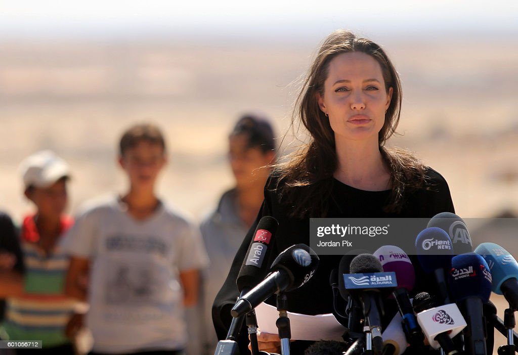 US actress and UNHCR special envoy and Goodwill Ambassador Angelina Jolie speaks during a press conference at Al- Azraq camp for Syrian refugees on September 9, 2016, in Azraq, Jordan. Jolie arrived at the camp and visited syrian families before speaking to the media.