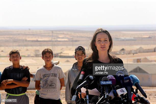 Actress and UNHCR special envoy and Goodwill Ambassador Angelina Jolie speaks during a press conference at Al- Azraq camp for Syrian refugees on...