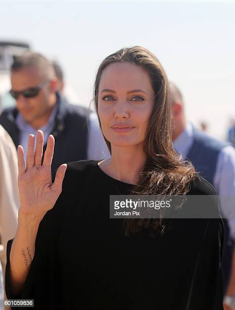 US actress and UNHCR special envoy and Goodwill Ambassador Angelina Jolie holds a press conference at Al Azraq camp for Syrian refugees on September...
