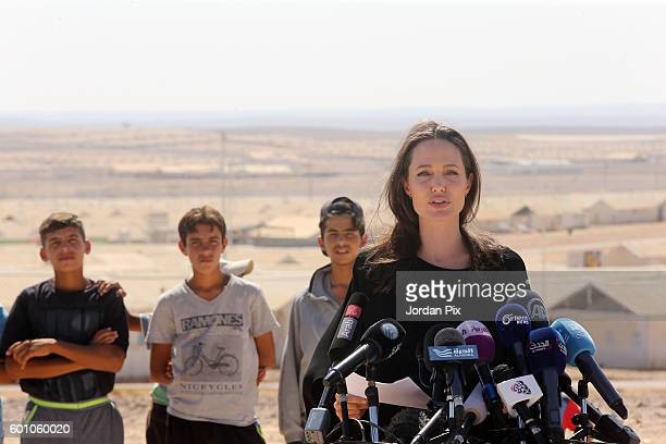Actress and UNHCR special envoy and Goodwill Ambassador Angelina Jolie holds a press conference at Al- Azraq camp for Syrian refugees on September 9...