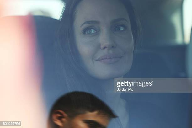 Actress and UNHCR special envoy and Goodwill Ambassador Angelina Jolie is seen at Al- Azraq camp for Syrian refugees on September 9 in Azraq, Jordan....