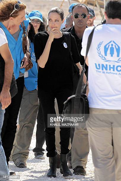 Actress and UNHCR special envoy Angelina Jolie and UN High Comission for Refugees staff visit the Zaatari refugee camp near the Jordanian border with...