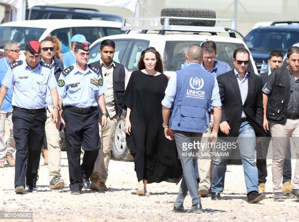 Actress and UNHCR special envoy Angelina Jolie arrives to a Syrian refugee camp in Azraq in northern Jordan, on September 9, 2016.