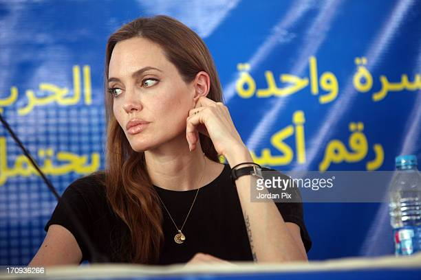 S actress and UNHCR Special Envoy Angelina Jolie holds a press conference with the UN High Commissioner for Refugees Antonio Guterres and Norwegian...