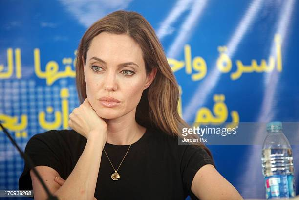 Actress and UNHCR Special Envoy Angelina Jolie holds a press conference with the UN High Commissioner for Refugees, Antonio Guterres and Norwegian...