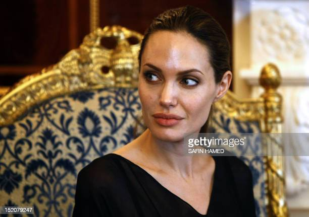 US actress and UNHCR special envoy Angelina Jolie meets with Nechirvan Barzani prime minister of Iraqi Kurdistan regional government in the northern...