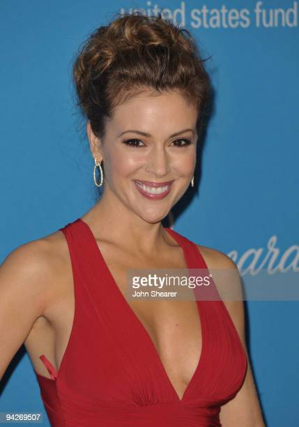Actress and UNICEF Goodwill Ambassador Alyssa Milano arrives at the UNICEF Ball held at the Beverly Wilshire Hotel on December 10 2009 in Beverly...