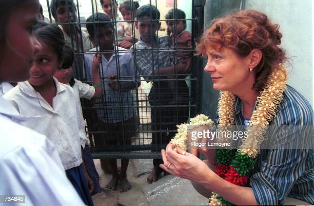 Actress and UNICEF Special Representative Susan Sarandon speaks with some local children December 5 2000 at the Balwadi children's day care center in...