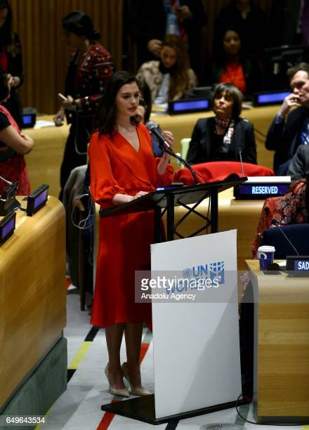 Actress and United Nations goodwill ambassador Anne Hathaway delivers a speech during an event held for International Women's Day at United Nations...